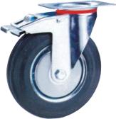 Rubber castor with steel core, roller bearing(Swivel)