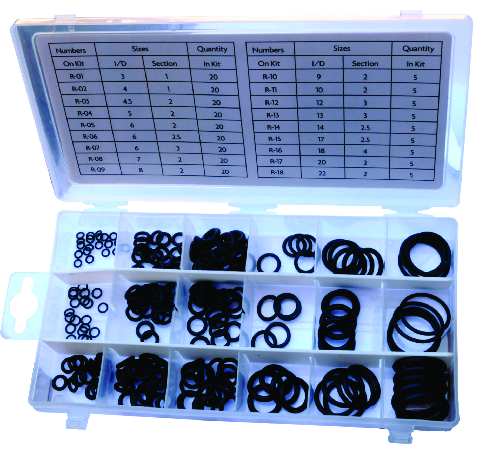 225 Pc Nitrile O-Ring Assortment Kits