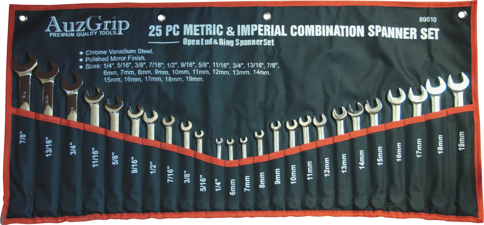 25 Pc Combination Spanner Set Metric/SAE.